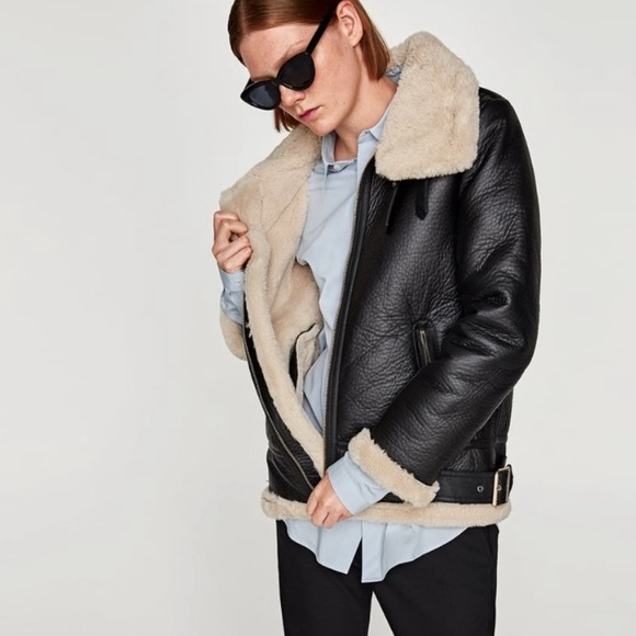 Zara Aviator biker Jacket Sherpa lined black small